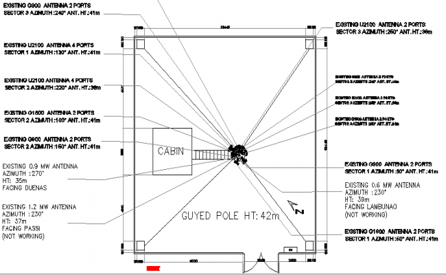 Cabin details of electric telephonic tower dwg file