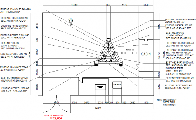Cabin details of telephonic tower with electric installation dwg file