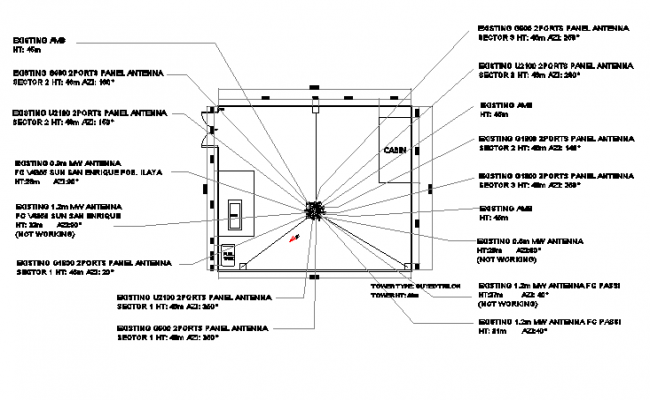 Cabin details of tower with electric installation dwg file