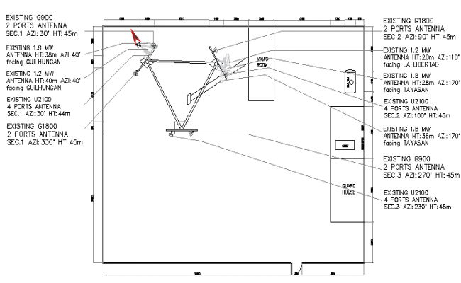Cabin details with electric installation of tower dwg file