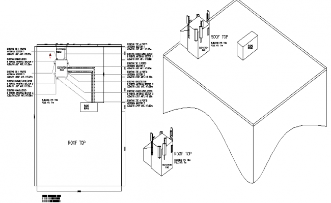 Cabin details with generator of three legged tower dwg file