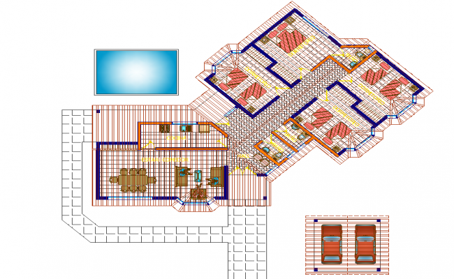 Cabin in rural area plan detail dwg file