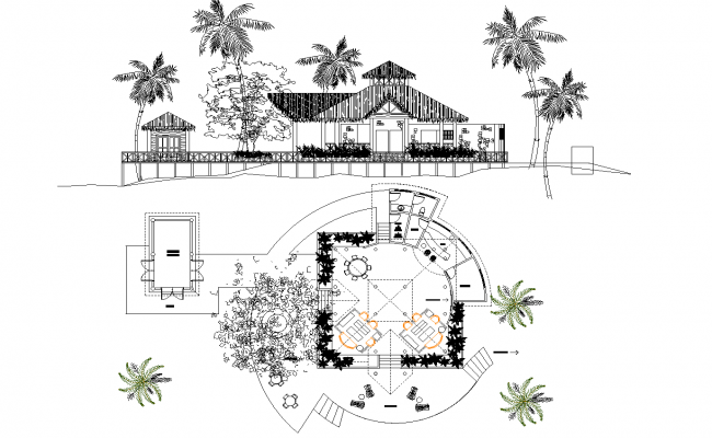 Cabin plan detail dwg file,