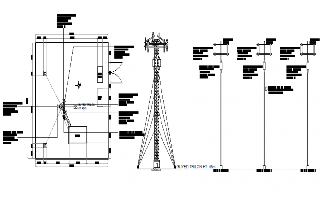 Cabin structure details of tower with electric installation details dwg file