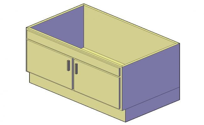 Cabinet 3d model detail furniture block layout file in dwg format