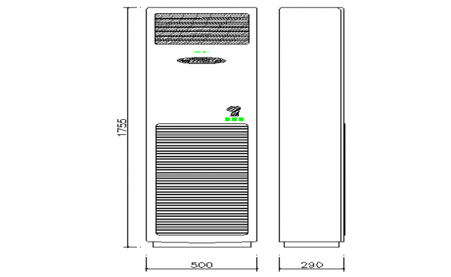 Cabinet air conditioner cad block design dwg file