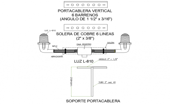 Cable carrier bracket detail dwg file