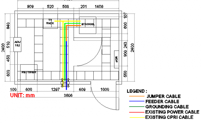 Cable panel details of electric tower with structure dwg file
