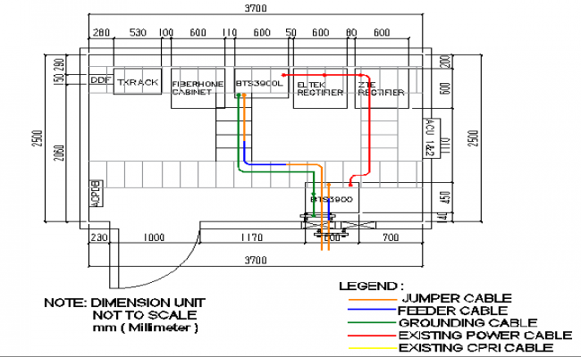 Cable panel details of three legged electric tower dwg file