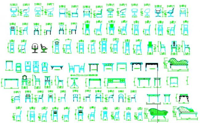 Cad blocks of chairs