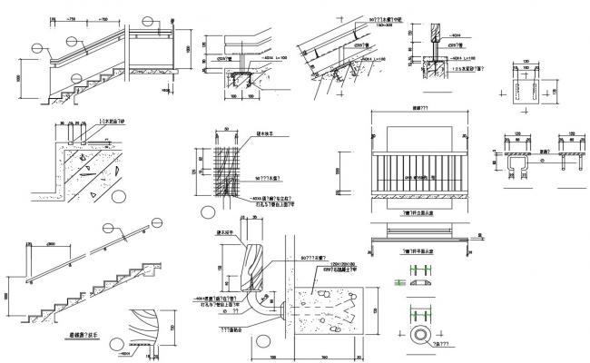 Cad blocks of the staircase in dwg file
