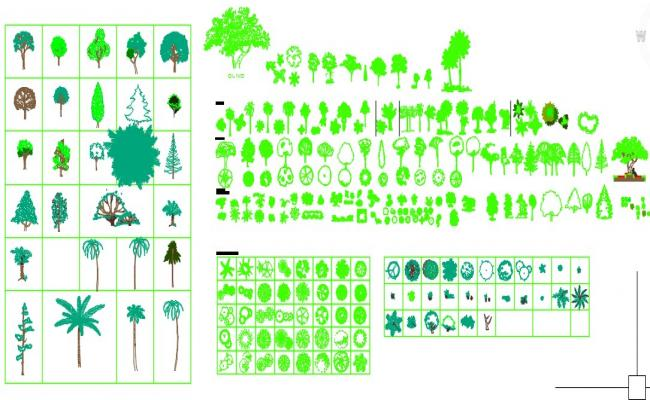 Cad blocks of trees and plants
