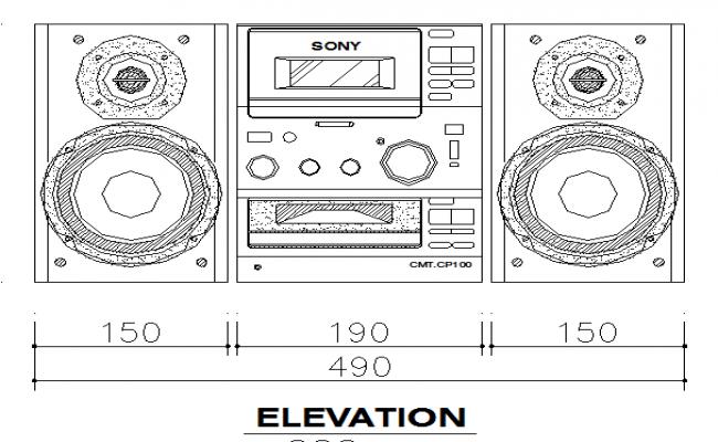 Cadillac Speaker Cad Elevation Design Block dwg file
