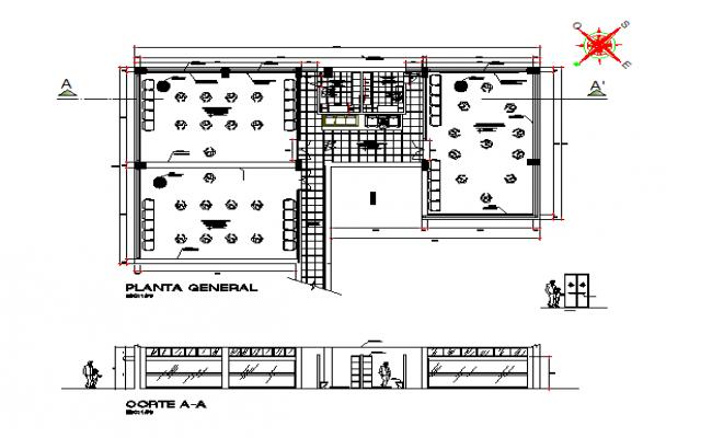 Cafe architectural plan details
