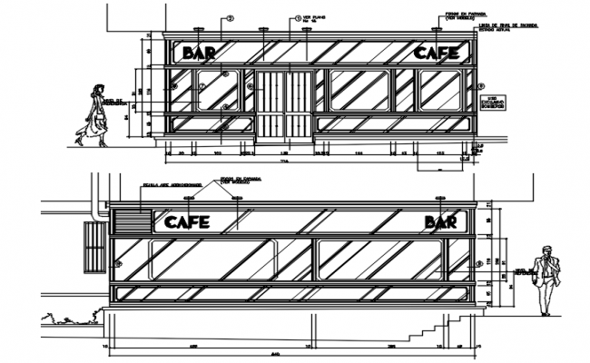 Cafe drawing with dimension in dwg file