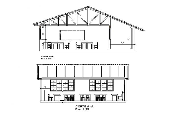 Cafe front sectional elevation details