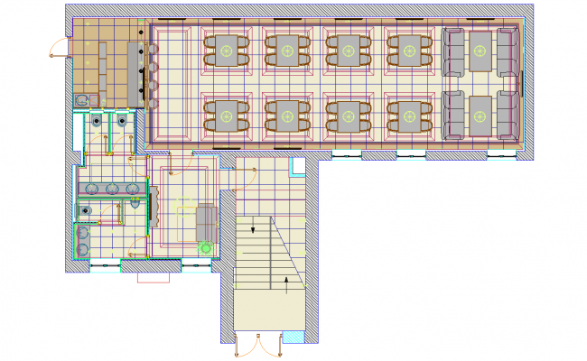 Cafe plan detail dwg file.