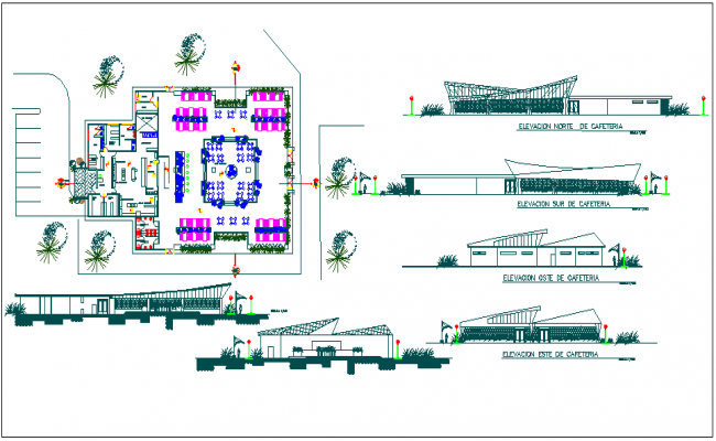 Cafe room building floor plan detail view dwg file