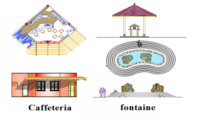 Cafeteria and fountain detailed view of private garden dwg file