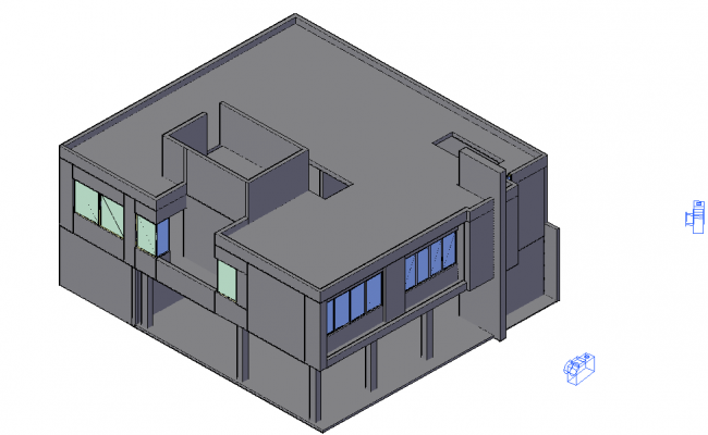 Camera position with its preview with 3d view of administration building dwg file