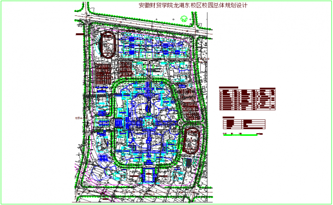 Campus planning for finance and trade collage dwg file
