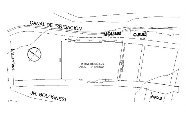 Canal irrigation details and site plan details dwg file