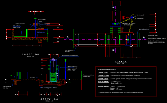 Canal water intake plan and section autoacd file