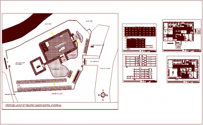 Plan Elevation Section Of Hospital : Cancer hospital for pediatric layout plan with section and