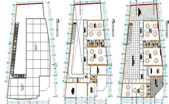 Canteen plan view detail dwg file