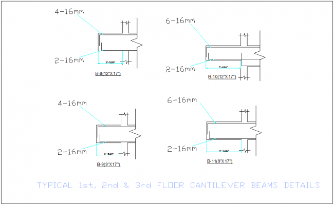 Cantilever beam detail view with structure view for office dwg file