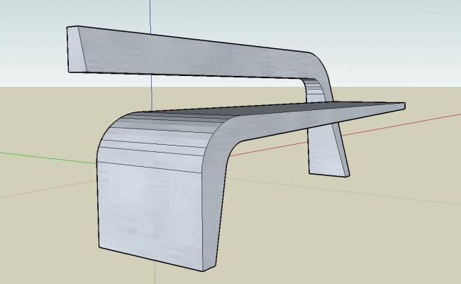 Cantilever outdoor bench 3d view skp file