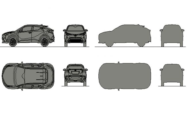 Car 3 D elevation detail dwg file