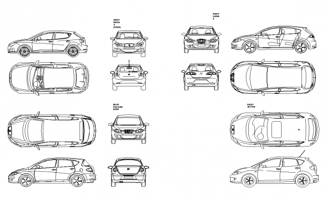 Car Cad Vehicle Structure 2d View Layout Elevation Dwg File