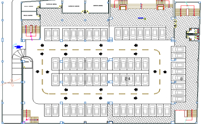 Car Parking Area of Cultural Center Architecture Layout dwg file – Parking Layout Plan