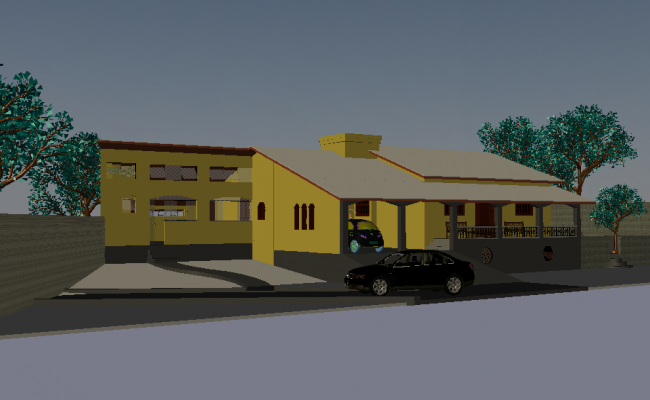 Car and bungalows 3d view with dwg file