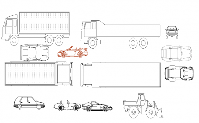 Car and truck detail dwg file
