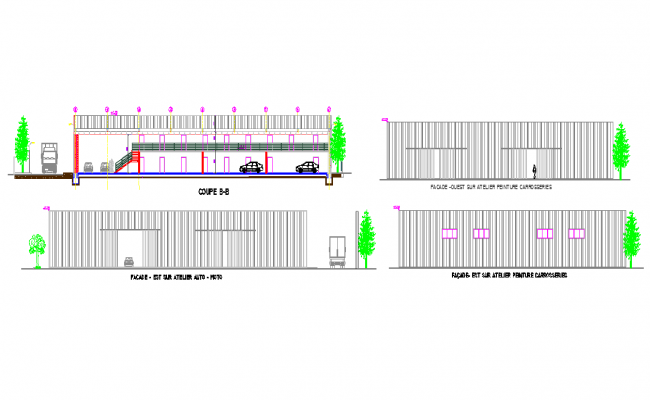 Car parking area and elevation details