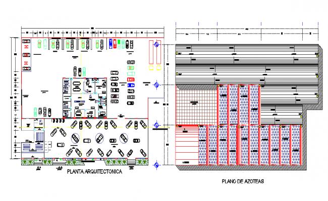 Car parking area with arrangement dwg file