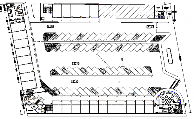 Car parking layout of shopping center dwg file