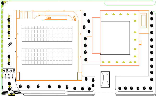 Car parking with layout plan of office dwg file