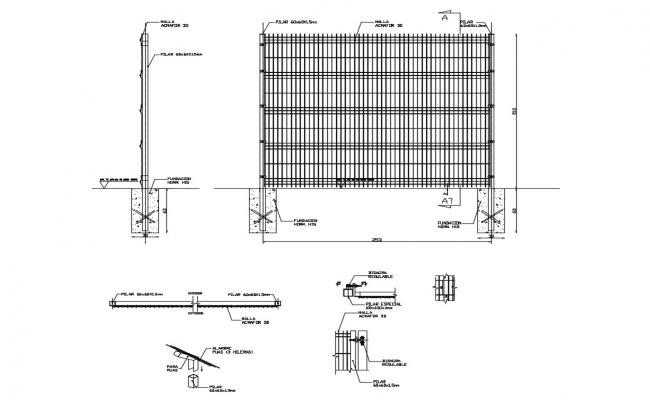 Card fence armor type constructive structure details dwg file