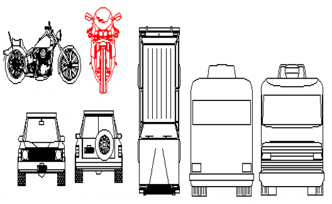 Cars and bike in 2d block
