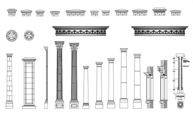 Carving Column CAD Blocks Elevation Design DWG File