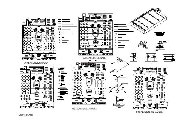 Casino with bar layout plan, sanitary installation and auto-cad details dwg file