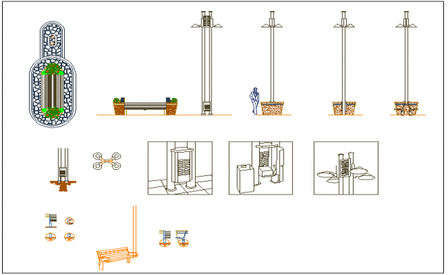 Casual decorative equipment details of private garden dwg file