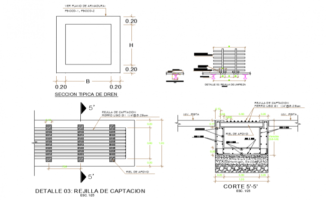 Catchment grid plan and section dwg file