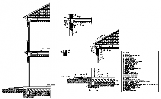 Cavity wall constructive section detail drawing