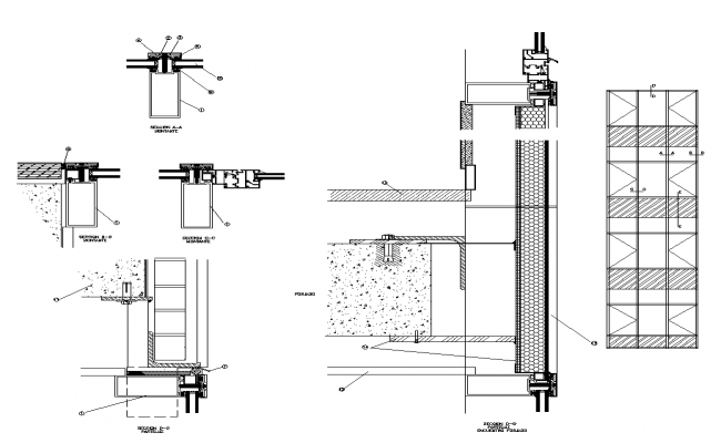 Cavity wall sectional detail elevation 2d view layout file