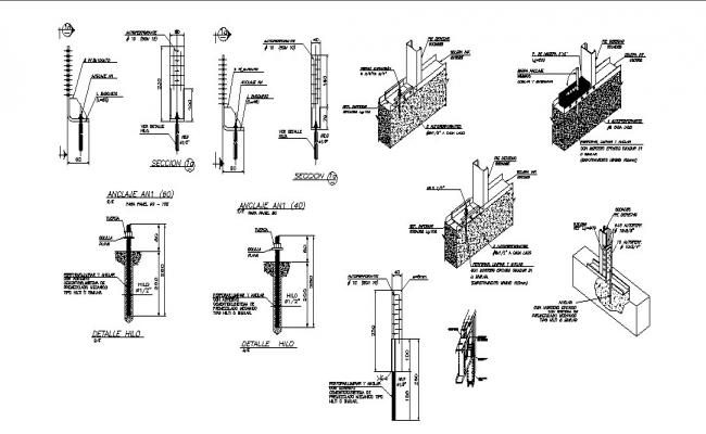 Ceiling anchor and construction details dwg file