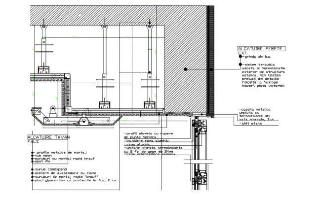 Ceiling elevation with structure view dwg file